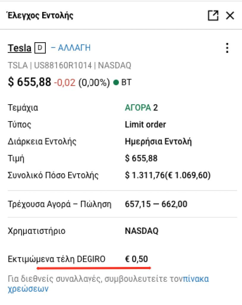 Παράδειγμα Χρεώσεων για αγορά 2 μετοχών Tesla στην Degiro